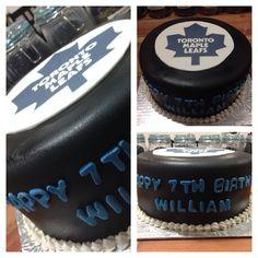 Maple Leafs Cake Toronto Maple Leafs, Fondant Cakes, Birthday Cakes, Cake Ideas, Hockey, Sweets, Party, Desserts, Tailgate Desserts