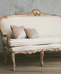 Vintage Cream Shabby Louis XV French Style Settee-antique, wood, upholstered, sofa, couch, love seat, furniture,shell, scallop,gilt, green,gold,floral, rose  SOLD  French Garden House   8941 Atlanta Ave. #284   Huntington Beach, CA 92646   • (714)454-3231 •   All Rights Reserved © 2011 French Garden House