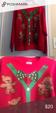 Matching Star Wars Christmas Sweaters Size Large in Men & Size S in Men. I wore the Small one and it looks perfect. Bundle! Don't wait until the last minute to purchase yours! Great for a Christmas family morning or an ugly Christmas sweater party! Willing to trade. Sweaters