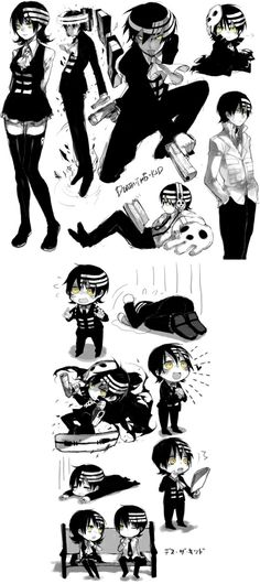 Death the Kid, chibi, genderbender, funny, headphones, cool, five lines, text; Soul Eater