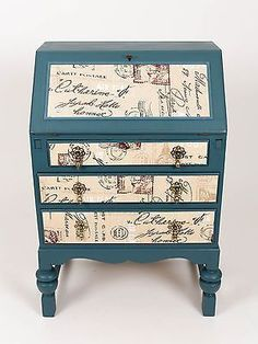 Vintage-Shabby-Chic-Writing-Desk-Bureau-Decoupage-Drawers-Art-Deco