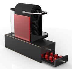 Nespresso Box / Kapselbuttler aus Holz für 40 Kapseln in schwarz von kapselbox.de