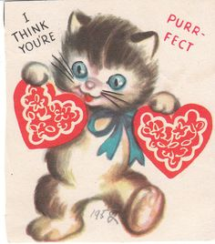 vintage valentine card cat with heart cards for children 1952 youre purr fect