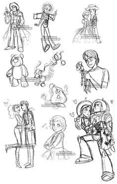 Toy Story by YoukaiYume on DeviantArt Arte Disney, Disney Fan Art, Disney Magic, Pixar Animated Movies, Pixar Movies, Toy Story Tattoo, Dibujos Toy Story, Cartoon Characters As Humans, Chibi Kawaii