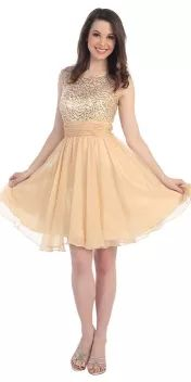 Champagne Sleeveless Short Sequin Party Dress - Homecoming Dresses