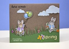 Birthday Bunnies stamps/dies and Pasture grass dies
