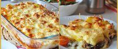 Recept Zapečené brambory s dvěma druhy sýra a houbami Lasagna, Quiche, Breakfast, Ethnic Recipes, Morning Coffee, Quiches, Lasagne