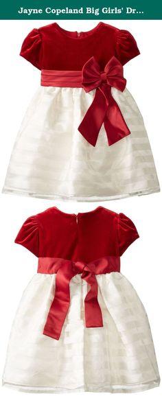 Jayne Copeland Big Girls' Dress Velvet with Shadow Stripe Org Skirt, Red, 6. Velvet with shadow stripe org skirt.