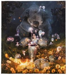 Completely in love with this new work by Look at that koala, he is adorable! Art And Illustration, Illustrations, Bedtime Stories, New Work, Surrealism, Fantasy Art, Digital Art, Artist, Instagram Posts