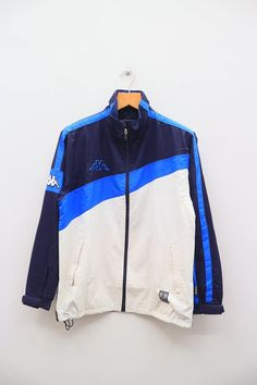 eaef40cc3ae1 Items similar to Vintage KAPPA Sportswear White And Blue Zipper Windbreaker  Jacket Size L on Etsy