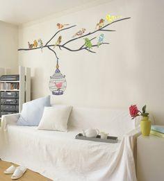 Birds in Tree Seinätarra