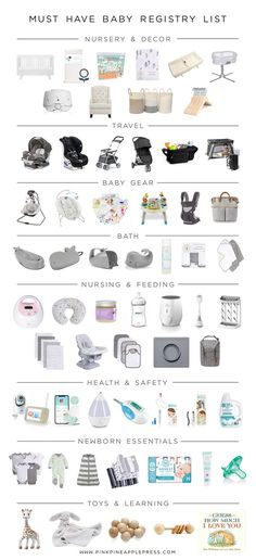 Must Have Baby Registry List! This is a complete list of baby essentials for first time moms. This is a comprehensive list of baby registry must haves! I have compiled a complete baby registry list th Baby Registry Essentials, Best Baby Registry, Baby Registry Checklist, Baby Registry Must Haves, Baby Registry Items, List Of Baby Essentials, Baby Registry Amazon, Baby Checklist Newborn, Newborn Baby Essentials