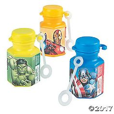 Avengers, assemble! Include these mini bubble bottles in party favor bags for your Avengers birthday party! These bottles come in Captain America, Iron Man ...