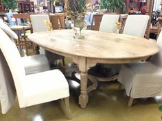 Gorgeous distressed oval table with six chairs