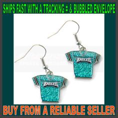 Blinged out Phila Eagles jersey earrings