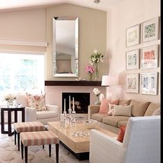 Corner fireplace room arrangement ,great design for the awkward placement of fireplace