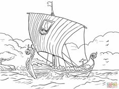 vikings coloring pages | Longship Viking Sea Vessel Coloring Online