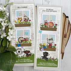 Tall & Skinny Window Dressing Cards (Mama Elephant) It's Your Birthday, Birthday Messages, Bullet Journal Mood Tracker Ideas, Mama Elephant Stamps, Pop Up Box Cards, Thing 1, Shaker Cards, Animal Cards, Kids Cards