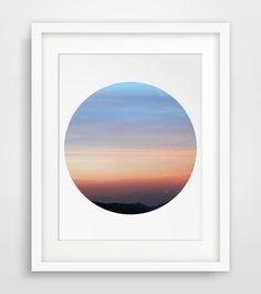 Circle Photography Sunset Wall Art Blue Sky by MelindaWoodDesigns #Circleart #Circledecor #minimalistdecor