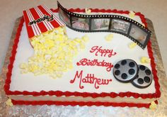 Movie reel cake, if I can't afford a more elegant shape, this is a cute idea!
