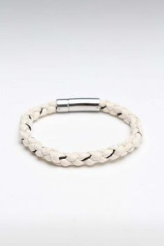 Kenton Michael Hand Braided White Cord with Stainless Clasp