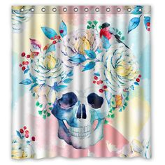Pastel Watercolor Flower Skull Shower Curtain