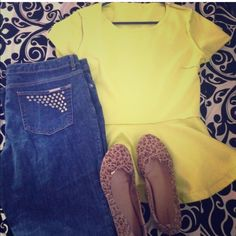 Neon Peplum top Super cute neon top to falter any figure. Fit for any occasion. I've worn it to church with booties and on Bourbon Street of New Orleans. . Your choice.  it's in amazing condition! Tops