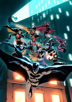 Nightwing, Batwoman, Batman Poster, Batman Comic Art, Batman Batman, Batman Robin, Robins, Illustration Comic, Batman Painting