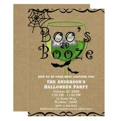 Boos & Booze Ghosts & Bats Kraft Halloween Party Card - birthday gifts party celebration custom gift ideas diy