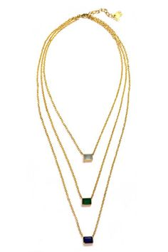 Layered Three Stone Necklace by Mela Artisans. Handcrafted by artisans in India.