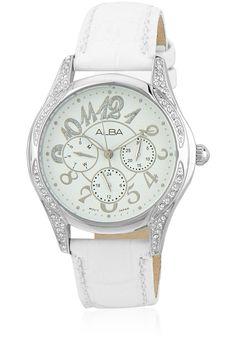 Alba By Seiko Aspf05X1 White/White Analog Watch