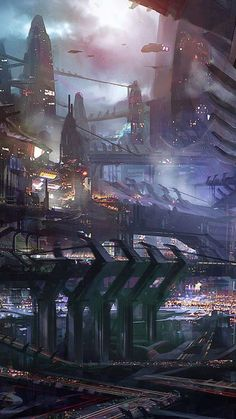 Science Fiction City Illustration iPhone 6 Plus HD Wallpaper Fantasy City, 3d Fantasy, Fantasy Places, Fantasy Landscape, Fantasy World, Dark Fantasy, Ville Cyberpunk, Art Cyberpunk, Futuristic City