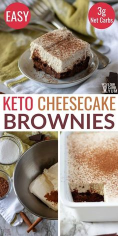 Keto Cream Cheese Brownies - Keto brownie cheesecake bars are an easy to make low carb snack or keto dessert. Keto Cream Cheese Brownies - Keto brownie cheesecake bars are an easy to make low carb snack or keto dessert. Brownie Cheesecake, Cheesecake Squares, Low Carb Cheesecake, Cheesecake Recipes, Pumpkin Cheesecake, Keto Brownies, Cream Cheese Brownies, Keto Desserts Cream Cheese, Cheese Dessert