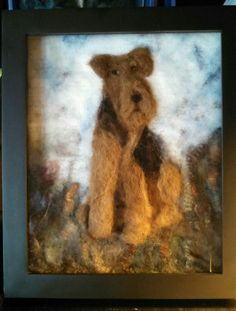 Airedale Terrier felted painting in a shadow box.