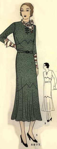 Vintage 1930s dress pattern. Love the deco lines