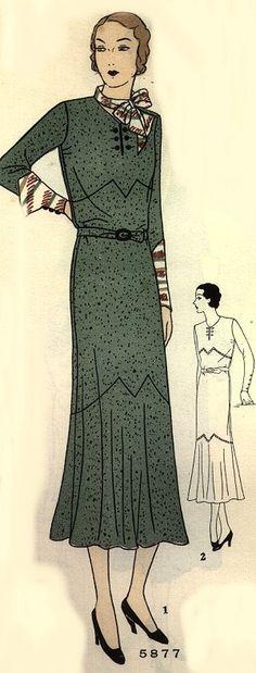 Vintage 1930s dress pattern. Love the deco lines