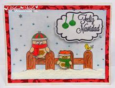 """Tarjeta Navideña con sello digital d SoftPencil Studio y Set de sellos de @Latina Crafter """"Label de Navidad"""" y Dies """"Label Uno"""""""