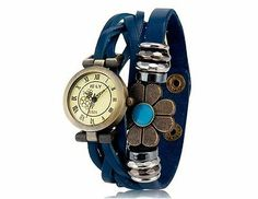 E-LY E025 Women's Watch Flower Decoration Round Dial Analog - Blue Unique Strap