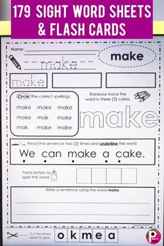 This bundle of sight word pages provide many ways to practice reading, handwriting, tracing, coloring, First Grade Sight Words, Dolch Sight Words, First Grade Writing, Sight Word Practice, Second Grade, Pre Primer Sight Words, Sight Word Sentences, Grade 1, Sight Word Flashcards