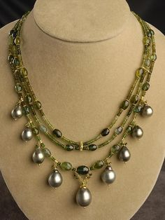 Green Tourmaline & Tahitian Pearl Multi-Strand 18kt Gold Necklace
