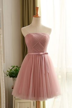 Knee Length Blush Tulle Bridesmaid Dresses