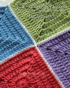 Technique :: Flat Slip Stitch Join For Granny Squares. Simple method uses back loop only & makes a very sturdy join. I used this method on a queen-sized blanket & am pretty happy with it. . . . . ღTrish W ~ http://www.pinterest.com/trishw/ . . . . #crochet