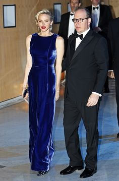 Breathtaking: All eyes were on the Princess, who wowed in a beautiful blue velvet gown alongside husband Prince Albert of Monaco Albert Monaco, Prince Albert Of Monaco, Kelly Monaco, Monaco Princess, Prince And Princess, Grace Kelly, Gala Gowns, Velvet Gown, Blue Gown
