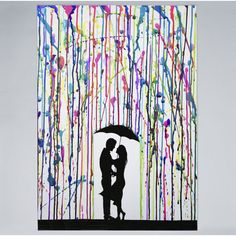 An explosion of colors and style, the Two Step Framed Wall Art from Amanti Art makes a 1 of a kind accent addition to your home. A romantic couple stands beneath a splattering of rainbow streaks sheltered by a shared umbrella in this unique print. Painting Frames, Painting Prints, Paintings, Framed Wall Art, Framed Art Prints, Wall Prints, Canvas Art, Canvas Prints, Canvas Size