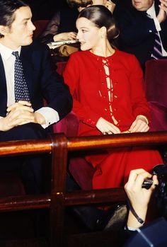 Alain Delon and Romy Schneider at the premiere of La Piscine (1969).