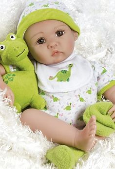 Realistic Newborn Baby Doll, My Little Dino & Rex, 18 inch in GentleTouch Vinyl