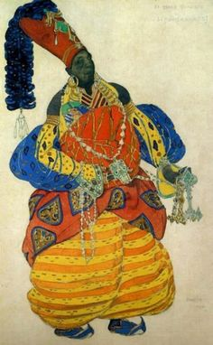 Costume design by Leon Bakst for Scheherazade, 1910