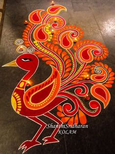 Ideas for phoenix bird mandala Rangoli Designs Latest, Latest Rangoli, Simple Rangoli Designs Images, Rangoli Designs Diwali, Diwali Rangoli, Rangoli Designs With Dots, Beautiful Rangoli Designs, Indian Rangoli, Easy Rangoli