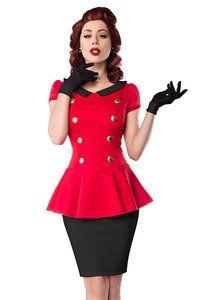 retro stijl jurk rood-zwart