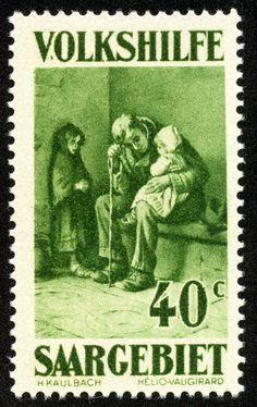 "Saar  1929 Scott B16 40c (+15c) olive green  ""Orphaned"" by Kaulbach"